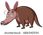 anteater with dizzy face on... | Shutterstock .eps vector #686540554