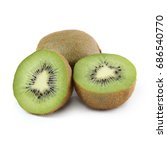kiwi slices isolated on white... | Shutterstock . vector #686540770