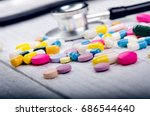 pharmacy background on a white