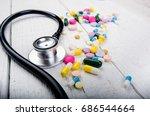 pharmacy background on a white... | Shutterstock . vector #686544664