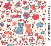 cartoon romantic seamless...   Shutterstock .eps vector #68654491