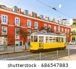 tram 28  the famous yellow tram ... | Shutterstock . vector #686547883