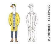 goose dressed up in yellow...   Shutterstock .eps vector #686554330