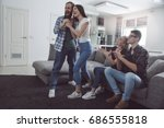 group of friends having party... | Shutterstock . vector #686555818