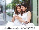 happy asian woman friends... | Shutterstock . vector #686556250