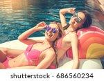 young women friends in the... | Shutterstock . vector #686560234