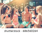 group of friends together in... | Shutterstock . vector #686560264