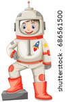 astronaut in spacesuit on white ... | Shutterstock .eps vector #686561500