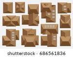 tiled roof of houses. top view. ... | Shutterstock .eps vector #686561836