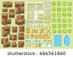 set of landscape elements.... | Shutterstock .eps vector #686561860