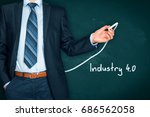 Small photo of Industry 4.0 heading - title page or background template for business presentation about Industry 4.0. Businessman (manager, teacher, mentor, visionary) and growing graph.