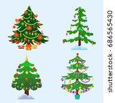pine tree cartoon green vector... | Shutterstock .eps vector #686565430