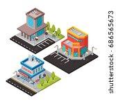 vector isometric buildings... | Shutterstock .eps vector #686565673