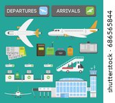 plane airport transport symbols ... | Shutterstock .eps vector #686565844