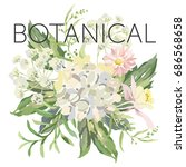 poster with message botanical.... | Shutterstock .eps vector #686568658