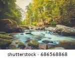 beautiful summer mountain... | Shutterstock . vector #686568868