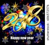 new year 2018  festive bright... | Shutterstock .eps vector #686572576