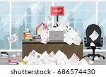 businessman needs help under a...   Shutterstock .eps vector #686574430