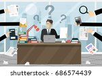 person at work multitasking ... | Shutterstock .eps vector #686574439