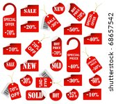 set of red price tags and... | Shutterstock .eps vector #68657542