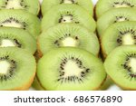 kiwi slices isolated on white... | Shutterstock . vector #686576890