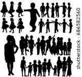 silhouette children  set  group   Shutterstock .eps vector #686582560