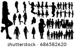 Vector, isolated silhouette children and teenagers, set, group