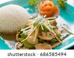 thai stir fried ginger chicken...   Shutterstock . vector #686585494