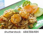 thai style fried rice with...   Shutterstock . vector #686586484