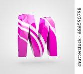 glossy pink letter m uppercase. ... | Shutterstock . vector #686590798