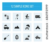 set of 12 editable trip icons.... | Shutterstock .eps vector #686593999