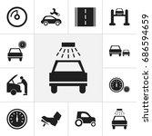 set of 12 editable car icons....