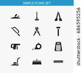 set of 12 editable tools icons. ...