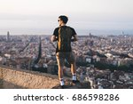 tourist making photo of the... | Shutterstock . vector #686598286