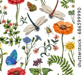 summer seamless pattern.... | Shutterstock . vector #686599990