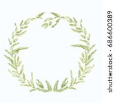 wreath of leaves green... | Shutterstock . vector #686600389