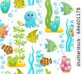 vector seamless pattern with... | Shutterstock .eps vector #686601178