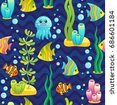 vector seamless pattern with... | Shutterstock .eps vector #686601184