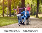 cheerful disabled grandfather... | Shutterstock . vector #686602204