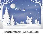 winter holiday santa and deer...   Shutterstock .eps vector #686603338
