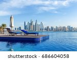 pool view to dubai marina | Shutterstock . vector #686604058