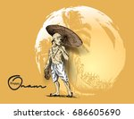 young man in traditional dress... | Shutterstock .eps vector #686605690