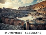 inside colosseum view at sunset ... | Shutterstock . vector #686606548