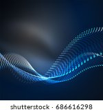 wave particles background   3d ... | Shutterstock . vector #686616298