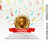 gold medal with red ribbon and... | Shutterstock .eps vector #686619103