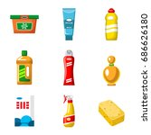objects of household chemicals... | Shutterstock .eps vector #686626180