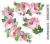 roses bouquets.watercolor.set | Shutterstock . vector #686626876