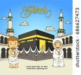 eid adha mubarak. people in... | Shutterstock .eps vector #686627473