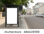 blank billboard mockup in bus... | Shutterstock . vector #686628580