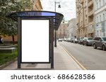 blank billboard mockup in bus... | Shutterstock . vector #686628586